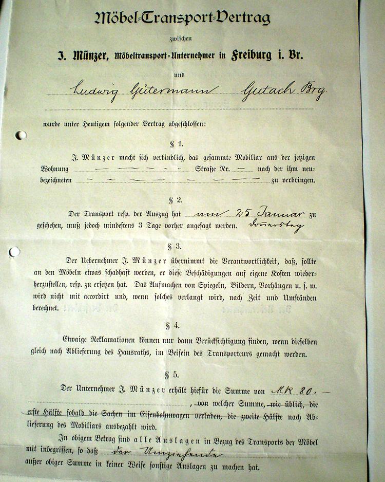 Ein Transportauftrag aus dem Jahre 1906 mit Herrn Gütermann aus Gutach / Breisgau ...